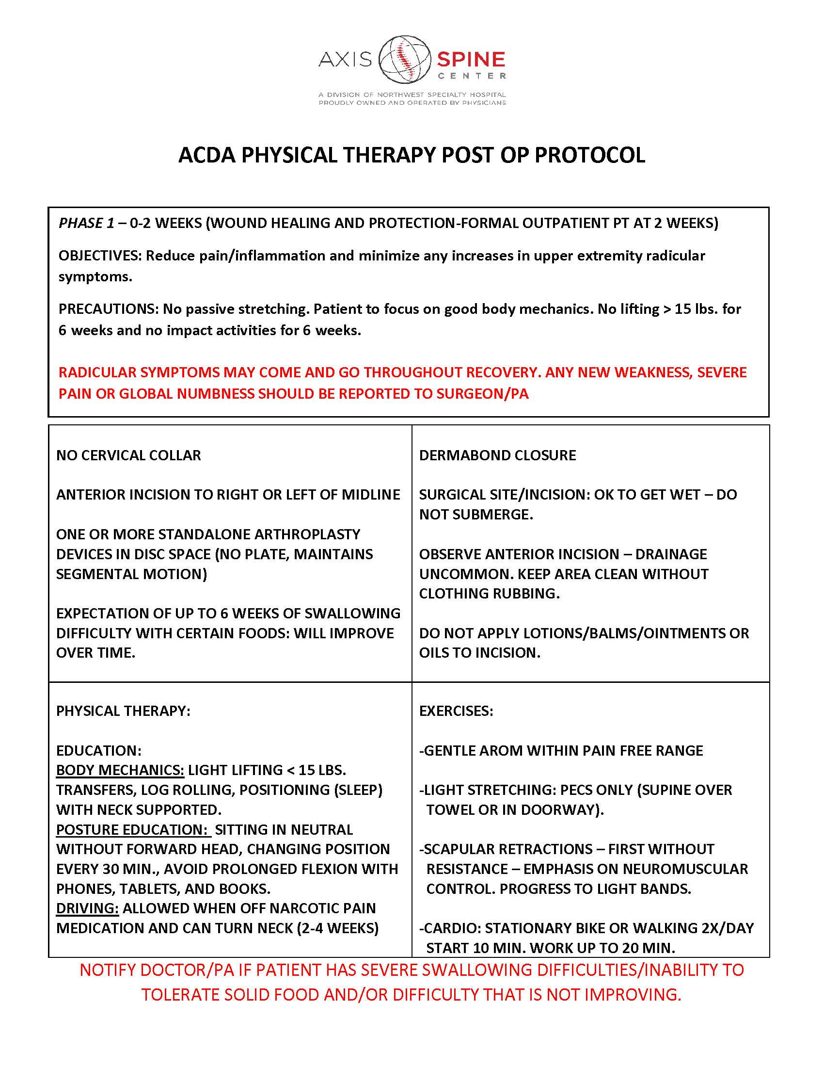 ACDA PHYSICAL THERAPY POST OP PROTOCOL