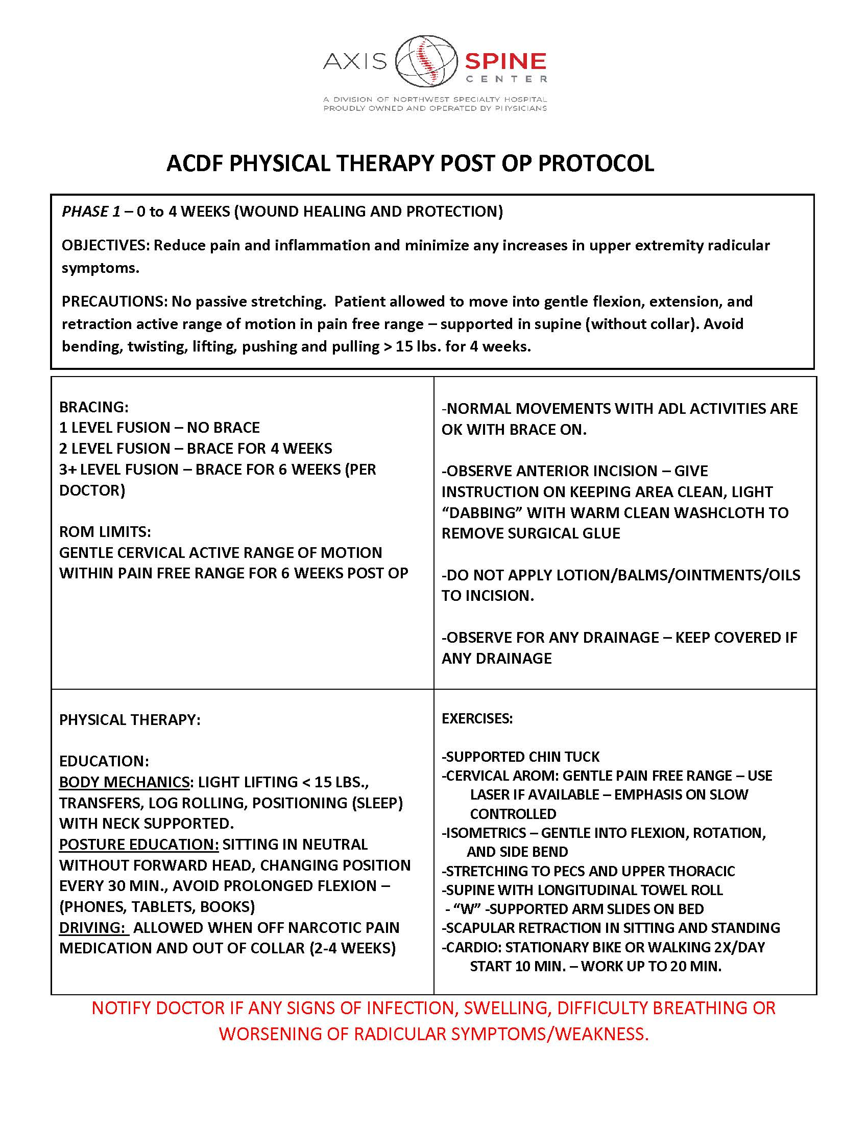 ACDF PHYSICAL THERAPY POST OP PROTOCOL