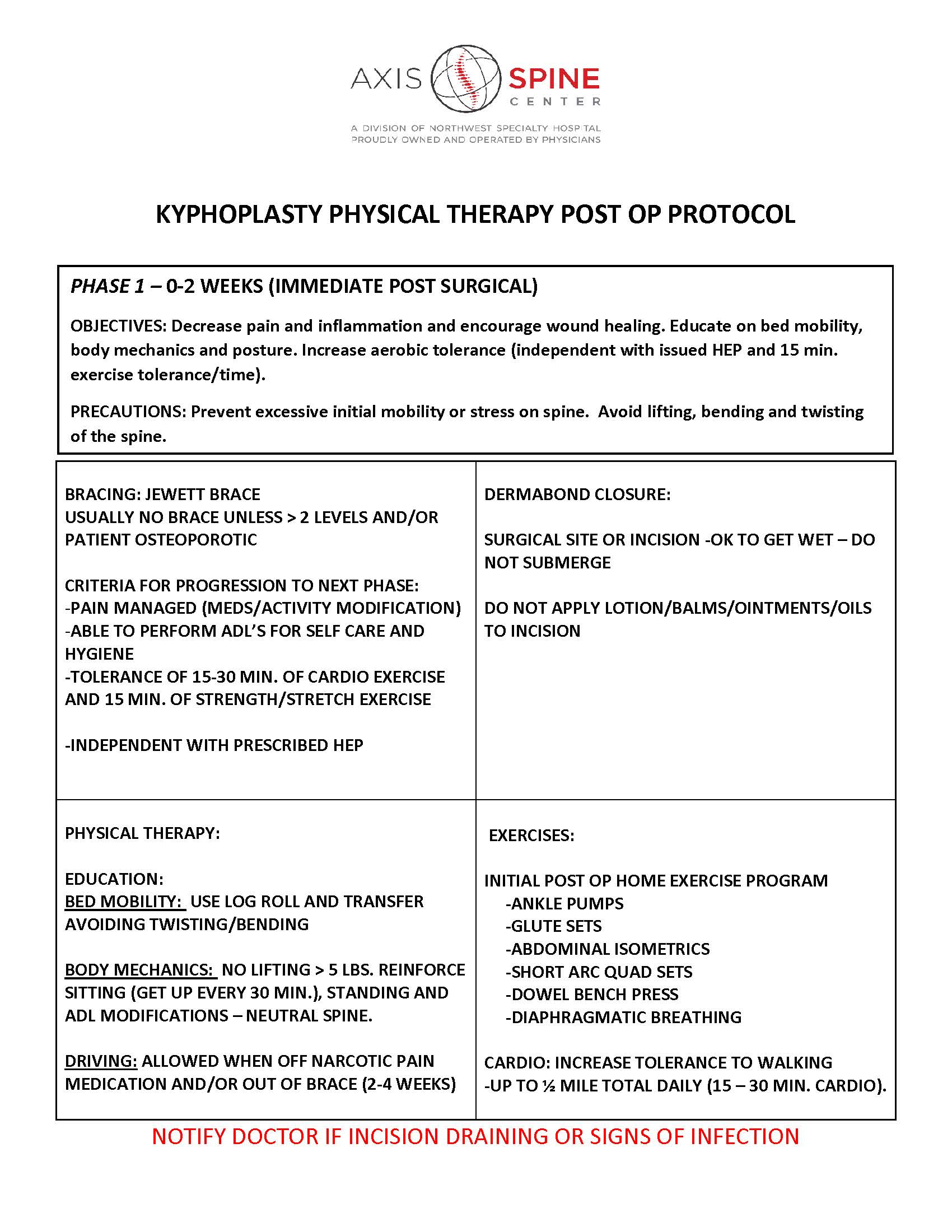KYPHOPLASTY PHYSICAL THERAPY POST OP PROTOCOL