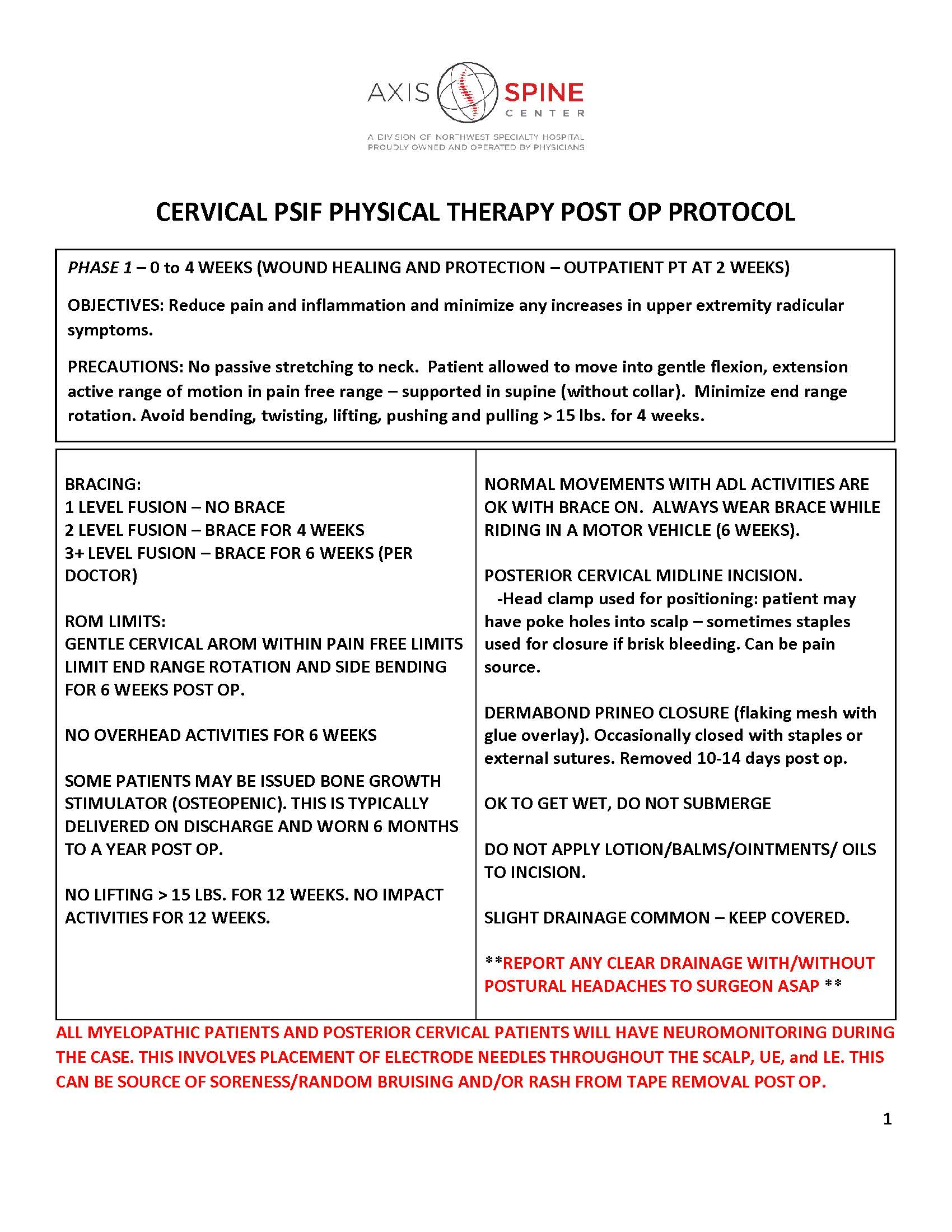 PSIF CERVICAL FUSION PHYSICAL THERAPY POST OP PROTOCOL