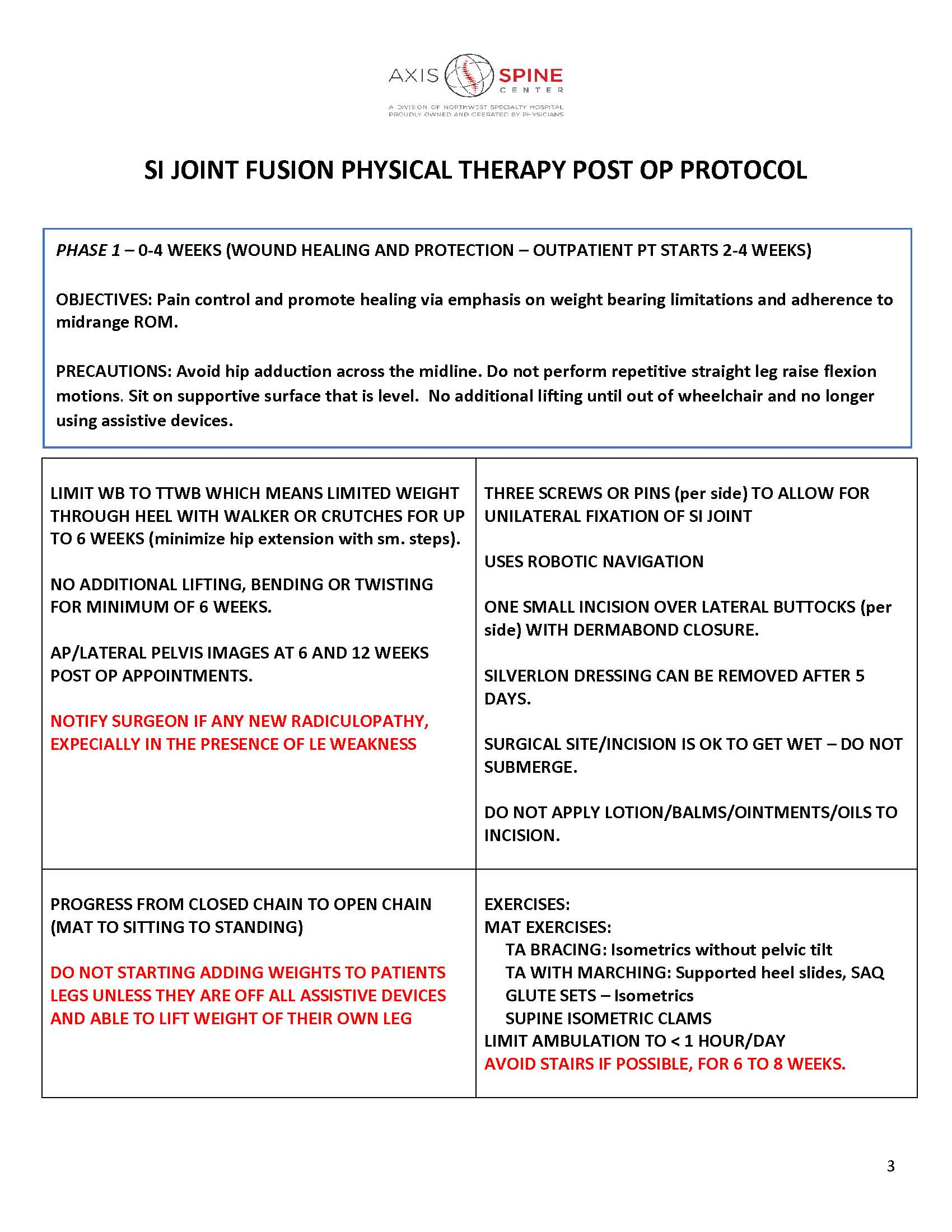 SI JOINT FUSION PHYSICAL THERAPY POST OP PROTOCOL